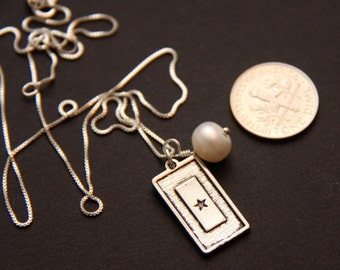 Service Flag Pearl Necklace-- 18 inch sterling silver chain
