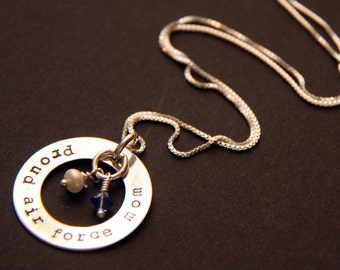 Air Force mom wife sister necklace