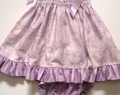Infant/Toddler Double Row Shirring Dress with Ruffle Butt Diaper Cover