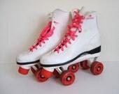 Vintage 80s Hot Pink and White Roller Derby Roller Skates