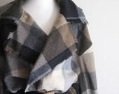 25% OFF - Vintage 80s Plaid Wool Wrap Blanket Coat