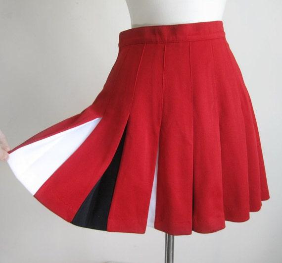 vintage white black pleated skirt 6