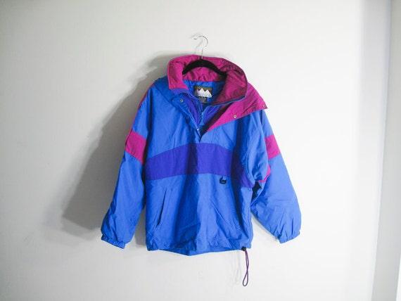 25% OFF - Vintage 80s Neon Pink Blue Ski Parka Jacket - S