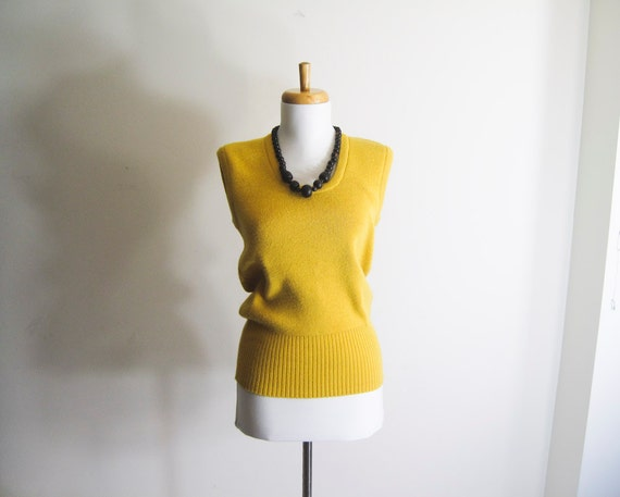 Vintage 80s Mustard Yellow Sweater Vest - S/M