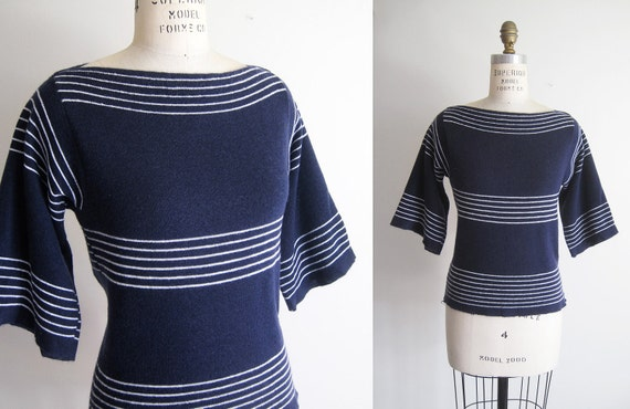 Vintage 70s Nautical Navy Striped Bell Sleeve Sweater - S