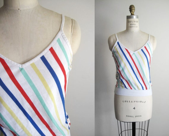 VINTAGE 80s White Striped Cami Tank Top - S/M
