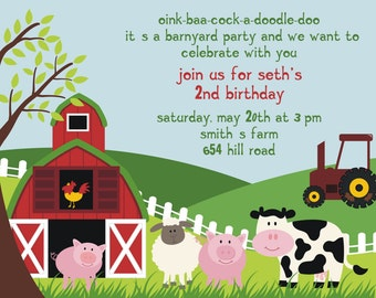 Reserved for Mindy - Farm Animal Birthday Party Invitation