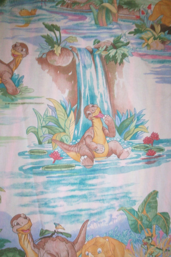 land before time 1980s full flat bed sheet for room decor or
