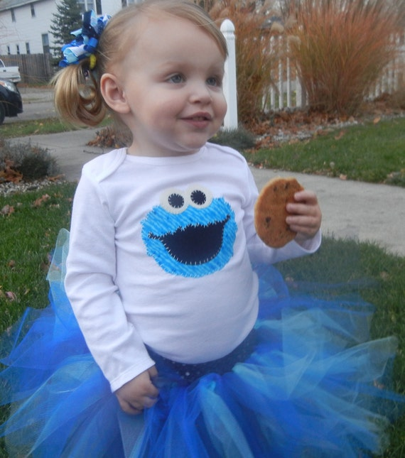 Cookie Monster sesame street tutu set outfit 0 3 6 9 12 18 24 mos. 2t 3t 4/5