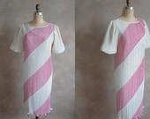 Vintage 1970s Party Dress- Chevron Design Cocktail Dress - Medium