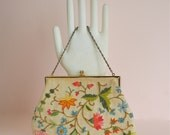 Vintage 1950s Hand Embroidered Handbag -  Linen & Wool Thread
