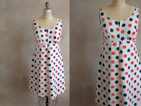 Vintage 1960s Cocktail Dress -  60s Summer Dress- Polka Dot Delight - Small