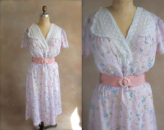 Vintage 1930s Floral Dress with Lace Collar - Large