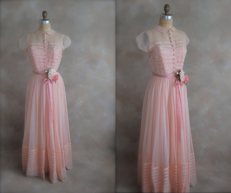 Vintage 1930s Prom Dress Deadstock Debutante Gown by chiffonier
