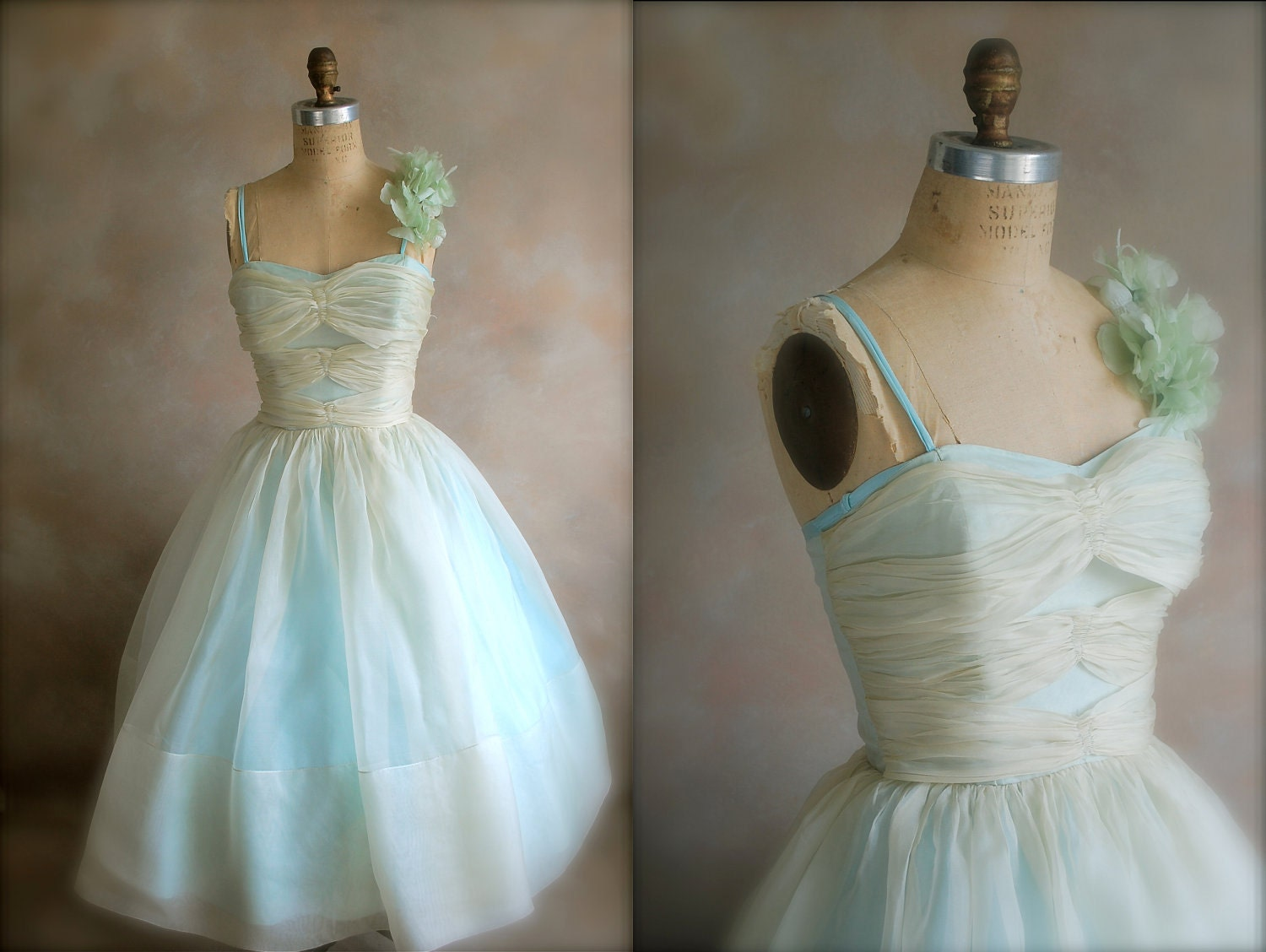 Vintage 1950s Prom Dress Silk Organza Party Dress