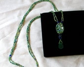 ON SALE 25% OFF Woven Bead Ocean Blues And Greens Long Pendent Necklace