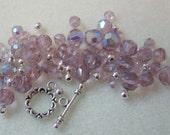 Amethyst Glass Silver Pewter Beads Kit Bracelet DIY