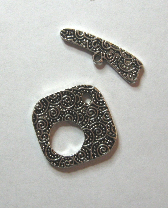 Antiqued Silver Pewter Toggle Clasp Findings Designs Jewelry Necklaces (1)