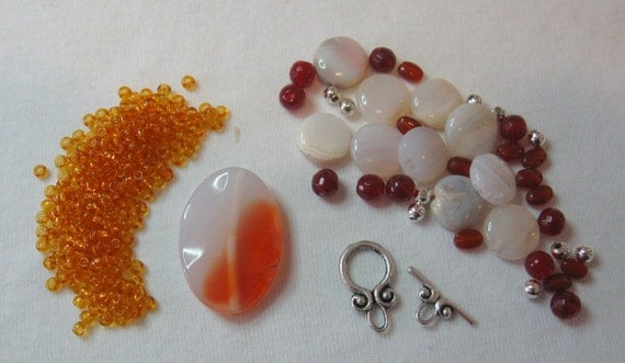 Sunrise Agate Carnelian Glass Silver Pendant Beads Kit Necklaces