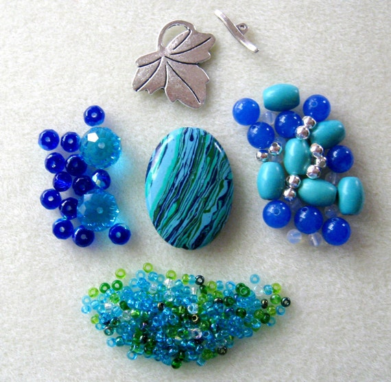 Blue/Green Calsilica Turquoise Jade Czech Glass Pewter Pendant Focal Beads Kit DIY