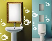 12pcs cute fish home art decor removable Vinyl wall stickers mural decals