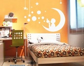 boy bubbles moon stars----Removable Graphic Art wall decals stickers home decor