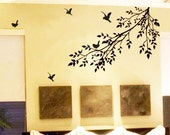 tree branch flying birds----Removable Graphic Art wall decals stickers home decor