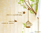 Spring tree branch birdcage birds 44by44inch----Removable Graphic Art wall decals stickers home decor