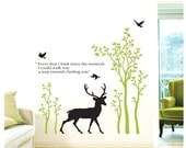 Deer Animals Forest Tree Birds---Removable Graphic Art wall decals stickers home decor