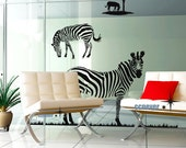 Zebra Family Tree Horse Grass----Removable Graphic Art wall decals stickers home decor