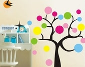 colorful tree 40inch H kids nursery----Removable Graphic Art wall decals stickers home decor