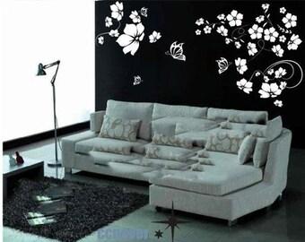 BIG flower blooming art home decor Vinyl wall stickers mural decals