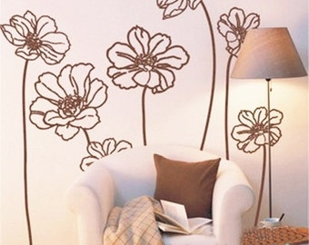 9pcs Elegant 40inch Flowers----Removable Graphic Art wall decals stickers home decor
