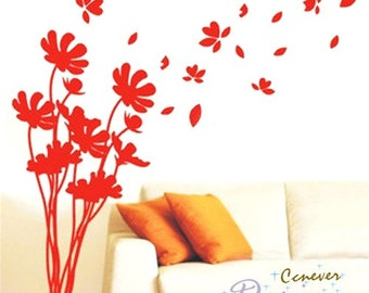 Flower Flying In wind ----Removable Graphic Art wall decals stickers home decor