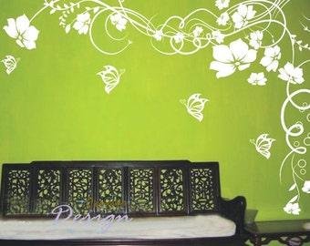 Amazing Flowers Blooming 60by40inch----Removable Graphic Art wall decals stickers home decor