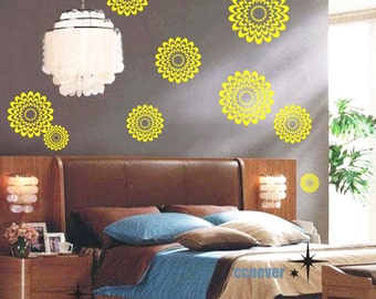 12pcs Abstract Flowers-----Removable Graphic Art wall decals stickers home decor