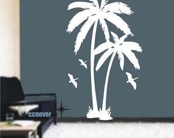 Palm Tree Birds 72inch----Removable Graphic Art wall decals stickers home decor