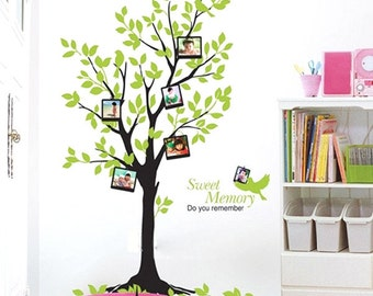 Memory tree birds photo frame----Graphic Art Vinyl wall decals stickers home decor