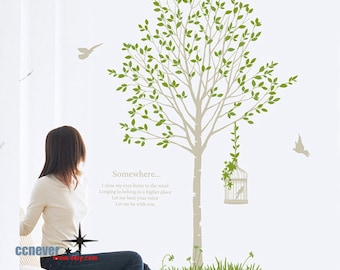 Garden Tree Flying Birds 66inch H-----Removable Graphic Art wall decals stickers home decor