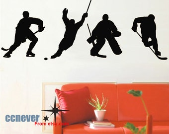 4 Hockey Player Sports Game 86inch----Removable Graphic Art wall decals stickers home decor