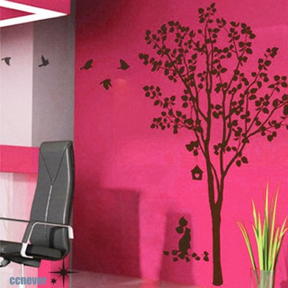 Cat Under 60inch Tree Birds ----Removable Graphic Art wall decals stickers home decor