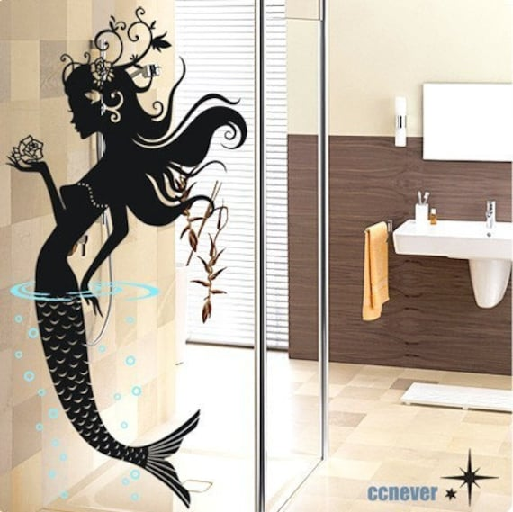 mermaid floral art home decor Vinyl wall stickers mural decals