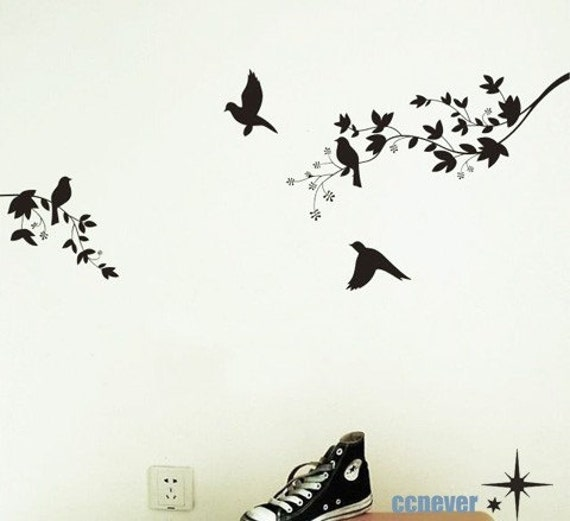 tree birds love----Removable Graphic Art wall decals stickers home decor