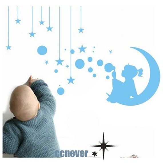 girl bubbles moon stars----Removable Graphic Art wall decals stickers home decor