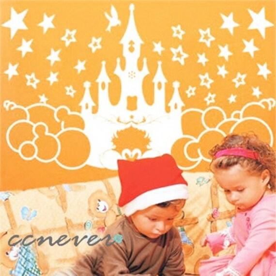 Penelope S Woodland Fairy Tale Nursery: Castle Fairy Tale Kids Nursery 40inchRemovable Graphic Art