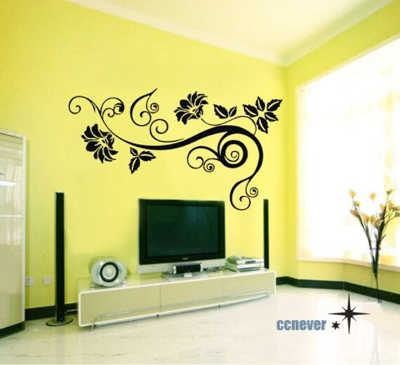 40inch flowers ivy----art Graphic Vinyl wall decals stickers home decor