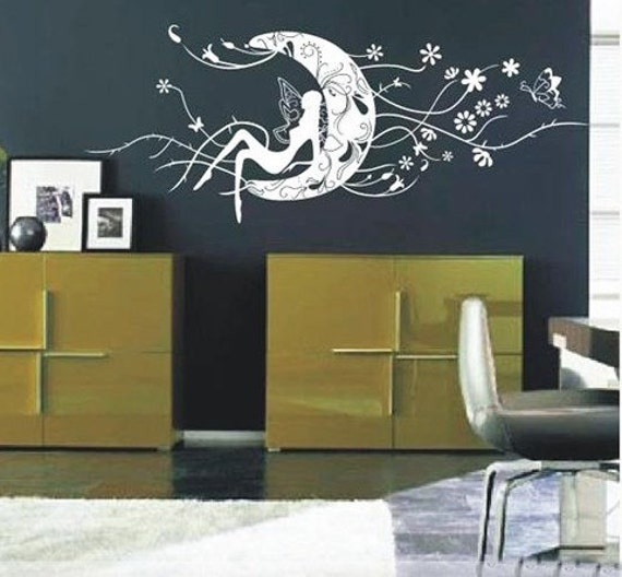 50inch angel girl moon butterfly----art Graphic Vinyl wall decals stickers home decor