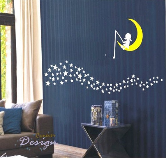 items similar to girl dream on moon and stars river removable graphic art wall decals. Black Bedroom Furniture Sets. Home Design Ideas