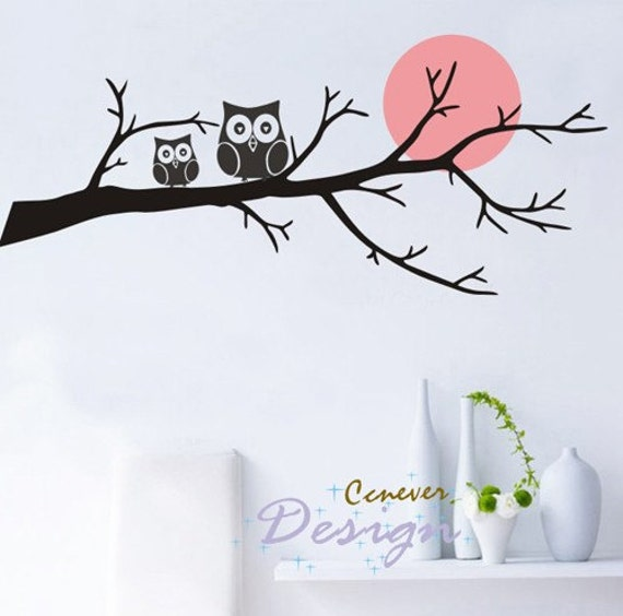 Owl Family On Tree Branch Moon 46inch W-----Removable Graphic Art wall decals stickers home decor