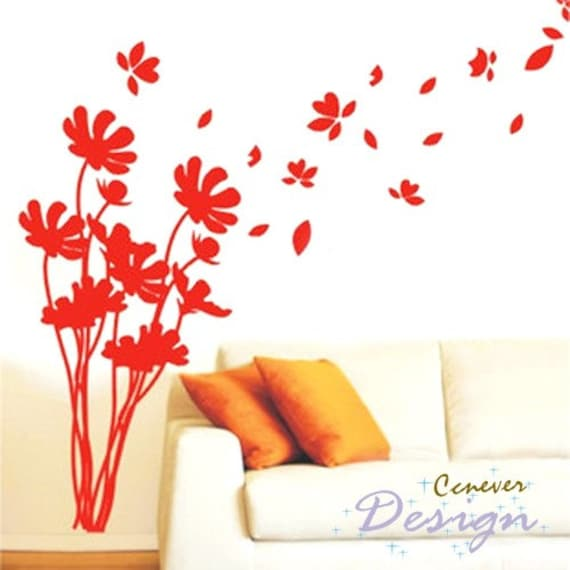 Flower Flying In Wind Removable Graphic Art Wall Decals By Ccnever